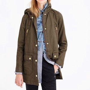 J. Crew Resin Coated Long Olive Field Jacket